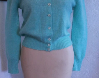 Vintage Blue Angora Sweater with Pearls and Embroidery Jane Irwill