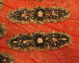 One Antique Trim Beaded Metallic Velvet Dress Adornment Applique Victorian Dress