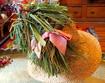 Outrageous Mr. Kenneth Italian 60s Straw Bird Hat