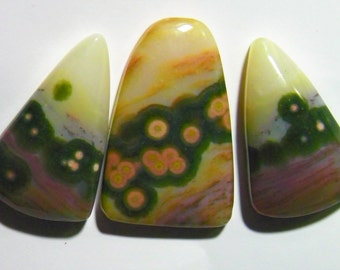 Ocean Jasper Set of Three Designer Cabochon with Earring (G 064)