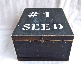 Vintage Salvaged Solid Wood Painted Seed Saving Box Flower Seeds Veggie Seeds Garden and Shed Painted Black Stenciled Garden Shed Box Sturdy