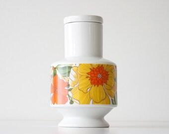 Vintage 1960s Mod Floral Ceramic Container