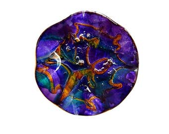 Iridescent Acrylic Plate Wall Hanging/ Leather-Like Backing/ Molded Blue Orange Sparkle Plate/ Decorative Glass Plate/ Display