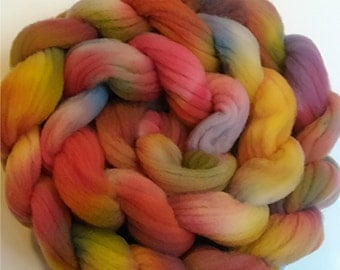 "Wool Roving for Spinning Babydoll Wool Fiber Needle Felting 4 Ounce Braid Combed Top Floral Colors  "" Primroses  """