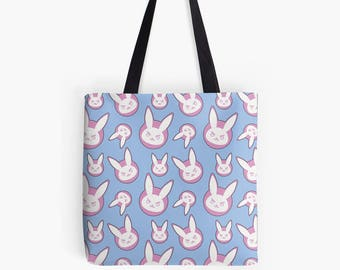 Overwatch D.va Bunny Pattern Polyester Fabric Tote Bag