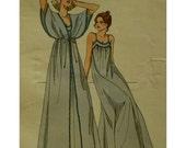 Nightgown and Peignor Pattern, Shoulder Straps, Yoke, Gathers, Empire Waist Robe, Cape-like Sleeves, Kwik Sew No. 876 UNCUT Size S M L XL