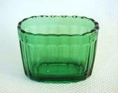 Vintage Emerald Green VASE-MATE Short Vase Forest Green Ribbed Planter Vase Mate Heavy Thick Glass