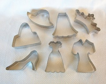 Set of 7 Wedding, Bridal Shower, Quincenera, Sweet 16 Steel Cookie Cutters Gown, Dress, Shoe, Tiara or Crown, Purse, Skirt, Hat