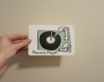 RECORD PLAYER card greeting postcard vintage flashcard paper ephemera for art mixed media