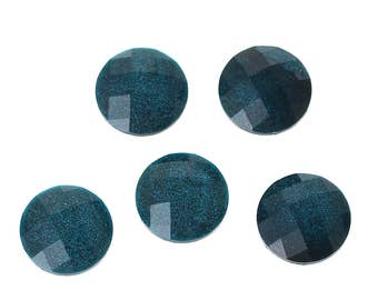 10 Resin Peacock Blue Glitter Faceted Dome 8mm