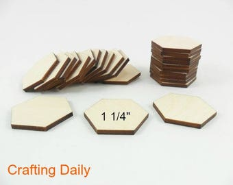 "Wood Hexagons Laser Cut Wood Tiles 1 1/4"" (31.75mm) Side to Side - 25 Pieces"