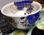 Bowl with Golden Bicycle, vintage Japanese Flowers, blue Clouds, hand thrown porcelain