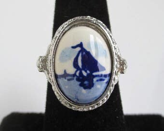 Silver Tone & Porcelain DELFT Adjustable Size Ring - Sailboat, As Is