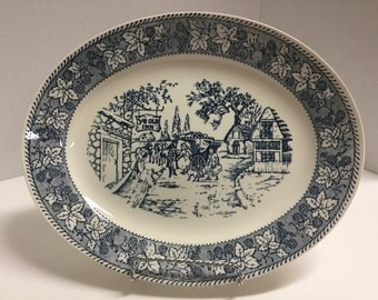 Vintage Platter Blue and White Ye Old Mill Unmarked