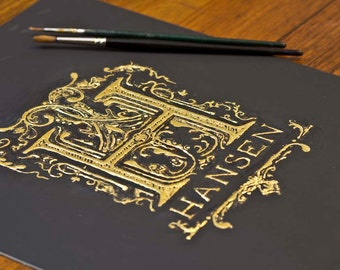 Illuminated letter / Monogram hand drawn with Gold leaf