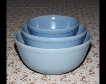 Vintage Pyrex - Three Bowl Set of Delphite Blue also called Blubelle...Nesting/Mixing Bowls...Made In USA and Canada