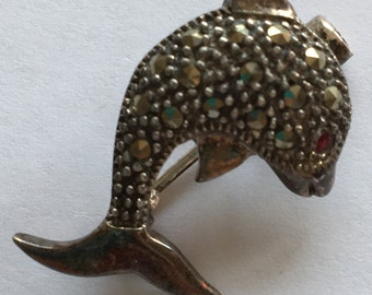 Vintage Silver and Marcasite DolphinBrooch Pendant Porpoise