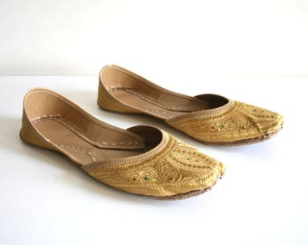 Golden Embroidered Indian Flats 9
