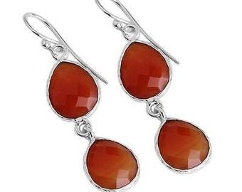 Carnelian Earrings, Teardrop Earrings, Dangle Earrings, Gemstone Earrings, Gift for Her, Orange Earrings, Sterling Silver, Carnelian Jewelry