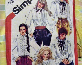 1982 Simplicity Size 12 Pattern/ Plaid Cotton Cut and Ready to Sew Blouse/ Shabbyfab Supplies