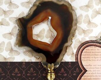 Huge Stunning  Agate Gemstone Lamp Finial Brass Base