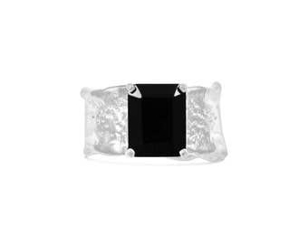 Emerald Cut Onyx Sterling Silver Ripple with Organic Textured Band Colored Gemstone Ring Size 5.5-7.5