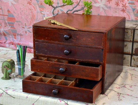 Vintage Wooden Sewing Spice Parts Bin Type Cabinet 4