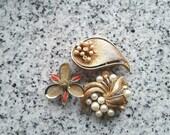 Vintage Danish Pin / Brooch destash - Flowers & Leaves upcycle, used, missing parts