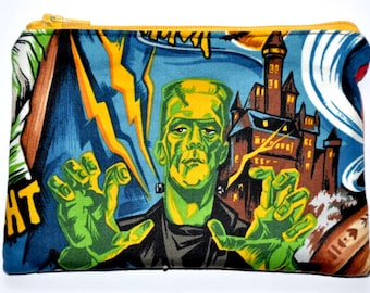 Frankenstein Dracula Hollywood Monsters Zipper Pouch Coin Purse Change Purse Wallet Gift Idea