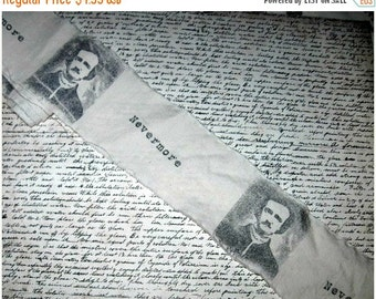 Edgar Allan Poe -Hand Stamped Fabric Trim - Scrapbooking - Gift Wrapping Decor