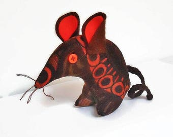 MARVIN MOD the Retro Mouse in  funky 70s  brown and orange BORAS Vintage Fabric