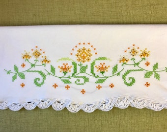 Vintage hand embroidered pillow case remix bed sheets bedding retro linens fabric vintage bedroom