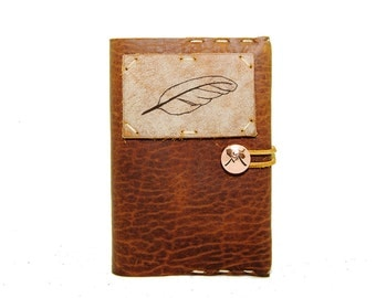 Small Leather Journal with Feather in Whiskey Ember
