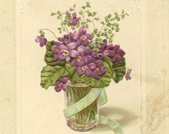 Small Vase of Spring Violets on Antique Birthday Postcard Beautifully Embossed Floral Postcard
