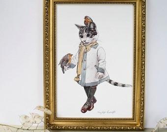 Grey and white cat illustration print. Winter art print. Robin red breast garden birds. Art for animal lovers. Vintage inspired art