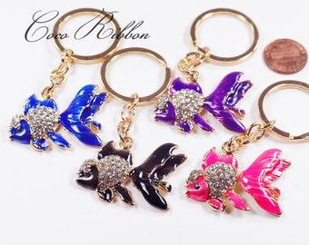 Rhinestone Enamel Goldfish Gold Fish Bag Alloy Key Chain Key Ring B40