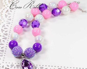 "17.5"" Chunky Lavender Beads Teardrop Pendant Charm Bubblegum Necklace for Kid Child baby E03"