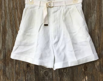 Vintage White Cuffed Preppy Walking Shorts