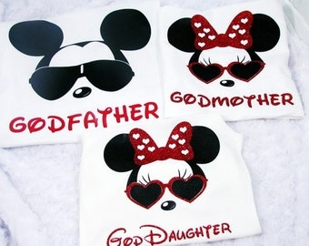 3 Pack Family Shirts - Cool Minnie and Cool Mickey Disney World Vacation Family Matching Shirts - Mom Dad + 1 Child Family Shirts