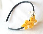 Trendy Yellow and Gray Flower Girl Headband with Kanzashi