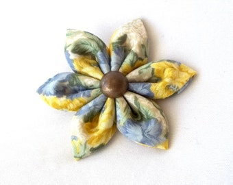 Cute Blue and Yellow Floral Hair Clip