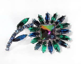 Vintage Vitrail Medium/Watermelon Square Rivoli, Capri Blue and Emerald Navette Rhinestone Floral Brooch