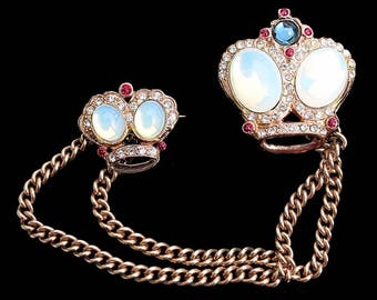 Fabulous White Opal Cabochon and Rhinestone Double Crown Chatelaine / Double Brooch