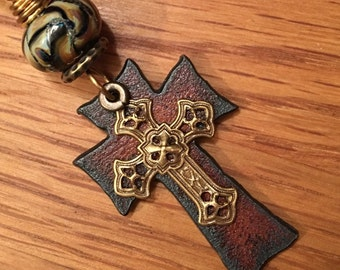 Artisan pendant #4...Wayne Robbins glass bead metal cross