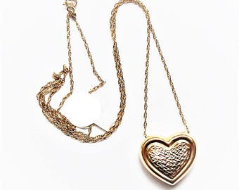 """Estate Find Vintage 14k Yellow Gold Puffy Heart Pendant and 19"""" 14k Gold Chain"""