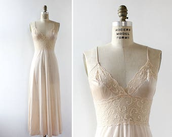 Lace Slip Dress XS/S • Vintage Slip Dress • Vintage Lingerie • Maidenform Vintage Nightgown • Long Nightgown • White Slip Dress | D846
