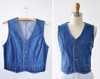 Cropped Denim Vest S • 70s Denim Vest • Vintage Vest • Womens Vest • Denim Crop Top • Boho Vest | T585