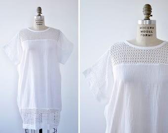 Mesh Dress • White Mini Dress • Appel Cotton Gauze Dress • 80s Dress • Summer Cotton Dress • Vintage Mini Dress • Summer Dress | D1109