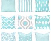 30% Off Sale Euro Sham - Sofa Pillow Covers - Decorative Throw Pillow Covers - Beach House Decor - Aqua Pillow Cover - Limpet Shell Decor -