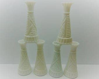 Vintage Milk Glass Vases, Set of 5 Bud Vases